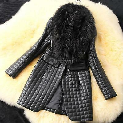 Fashion Women's Long Sleeve Synthetic Leather Fur Collar Coat Jacket CO99 01