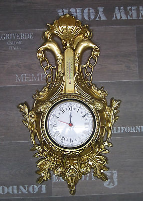 Wall Clock Swan in Gold with Thermometer Antique Look 38x65cm Baroque Quartz