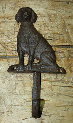 3 Cast Iron Antique Style DOG Coat Hooks Hat Hook Rack Towel LAB Retriever Puppy