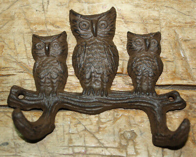 Cast Iron Antique Style HOOT OWL Coat Hooks Hat Hook Rack Towel HOOTER
