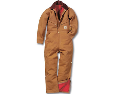 CARHARTT Duck X01 COVERALL QUILT LINED Ret $130 Gold Brown Ankle to waist Zipper
