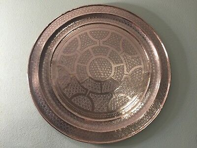 """Huge Vintage Islamic Middle East Hand Chased Copper Table Tray/Wall Deco, 34"""" D"""
