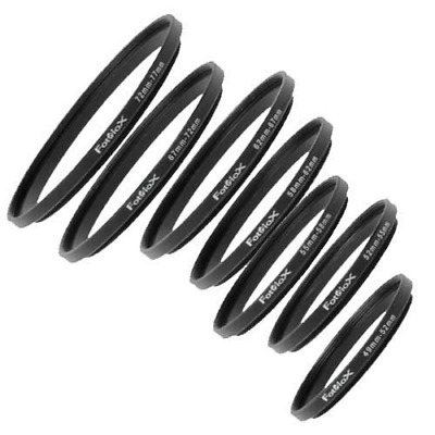 Fotodiox 7 Step Up Ring Filter Adapter Set, Anodized Aluminum, 49-52mm, 52-55mm,