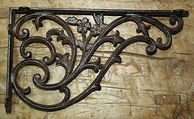 4 Cast Iron Antique Style HUGE DAISY VINE Brackets Garden Braces Shelf Bracket