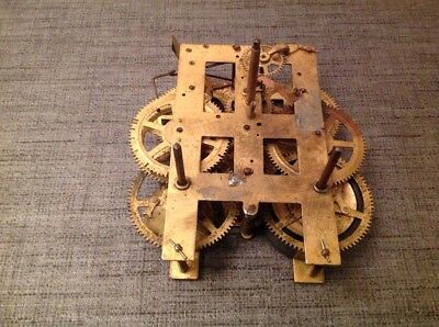 Antique Clock Movement Weight Driven 160x120mm Untested Repair Or Spare Parts