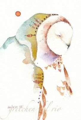 "ACEO Giclee PRINT watercolor 2.5"" x 3.5"" Del rio spirit totem 'GRANDMOTHER OWL'"