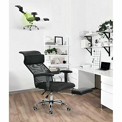 New Black Executive Recliner Home Computer Office Chair Mesh High Back Footrest