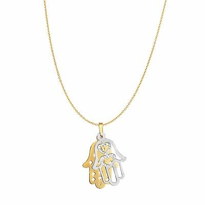 Filigree Hamsa Hand Heart Reversible Pendant Necklace Real 14K Yellow White Gold