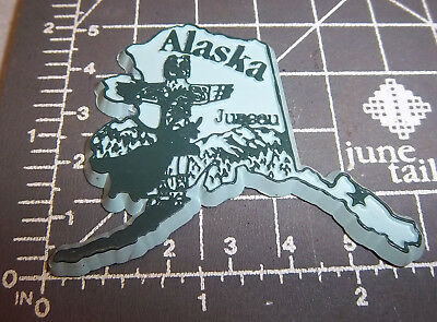 Alaska state shaped rubber fridge style magnet, great collectors item Totem pole