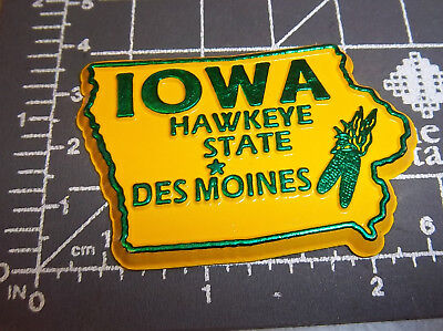 Iowa state shaped rubber fridge style magnet, great collectors item, Hawkeye
