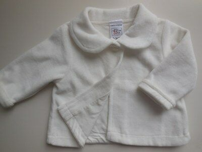 'baby Charlie & Me' Cute Ivory Boy Girl Fluffy Velour Jacket Coat Top Size 000