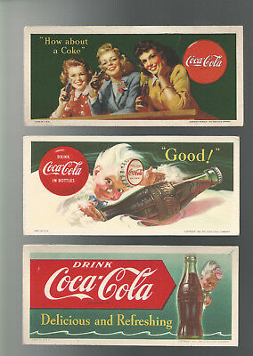 3 COCA-COLA ADVERTISING INK BLOTTERS 1944-1953 Pretty Ladies & Bottles w/ Sprite
