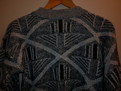 VINTAGE 1980s LEATHER TRIM JUMPER SMALL EXCELLENT CONDITION