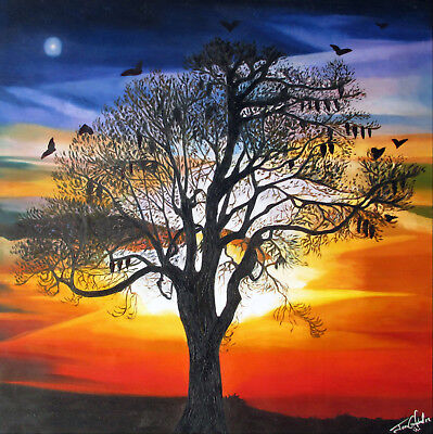 framed original fruit bat sunset queensland art Print  canvas jane crawford