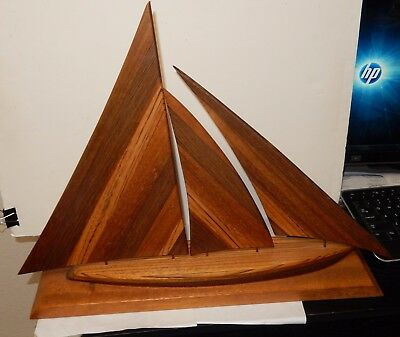 Large Hand Carved Hard Wooden Sail Ship