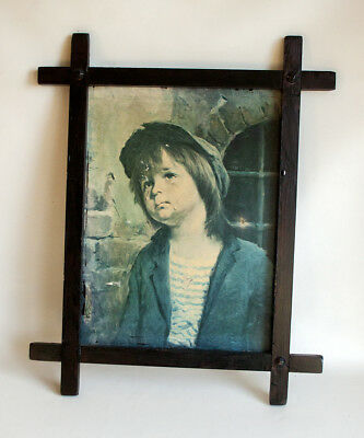 Vintage Kitsch 1960s/70s CRYING BOY Urchin in Hat Framed Print - FREE UK P&P