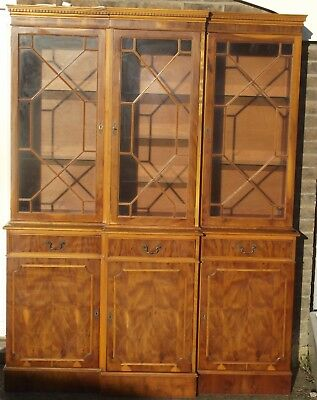 Yew Illuminated Reproduction Antique Breakfront Display Cabinet Good Condition