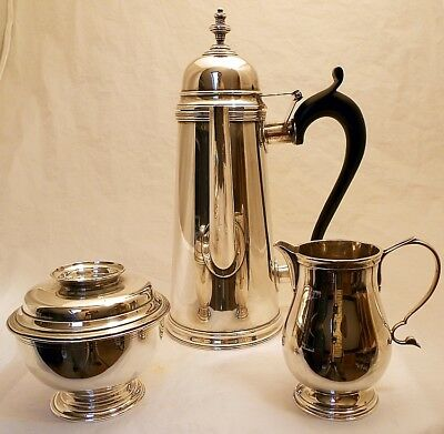 A sterling coffee set, Colonial Williamsburg by Stieff, c.1949