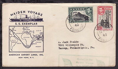CEYLON 1940 AMERICAN EXPORT LINES SHIPPING MAP ILLUSTRATED COVER KGVI STAMPS x 2