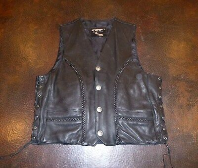 Quality Black Leather Biker Vest by Black Hills - XL
