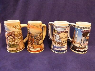 Lot of four Miller Beer Steins, Birth of a Nation & Great American Achievements