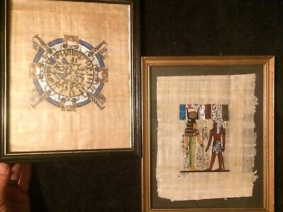 EGYPTIAN ART PAINTING ON PAPYRUS WALL ART Lot Of 2 Antique Style