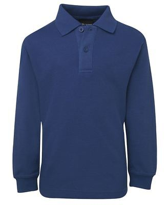 JB's wear Kids Long Sleeve 210 School Polo Shirt W/ UPF Protection Knited Collar