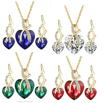 Jewellery Set of 2 Gold Tone Heart Necklace Pendant Earrings Crystal GLD ST05
