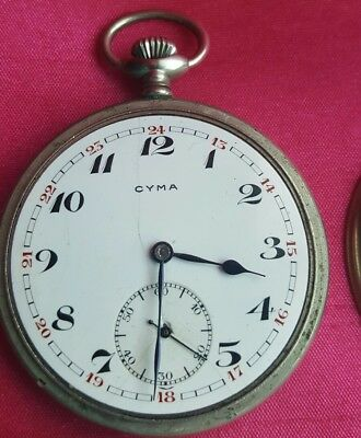 VINTAGE CYMA OPEN FACE MEN'S POCKET WATCH SWISS 1930's
