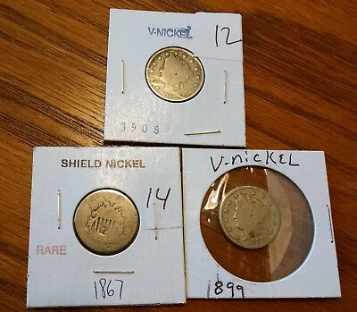 Set of Two 1899 and 1908 V Nickels and One 1867 Shield Nickel