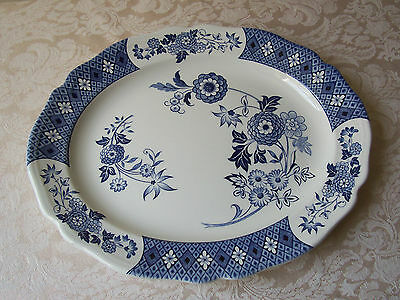 J & G Meakin Cathay Oval Serving Platter Royal Staffordshire Blue Scalloped