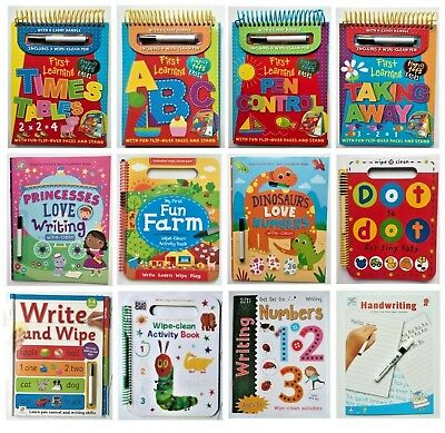Collection of Wipe-clean Workbooks kids 2+, ABC 123 times-tables numeracy/Litera
