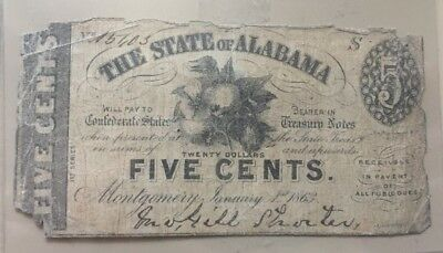 1863 Confederate Alabama 5 cent fractional note cotton boll