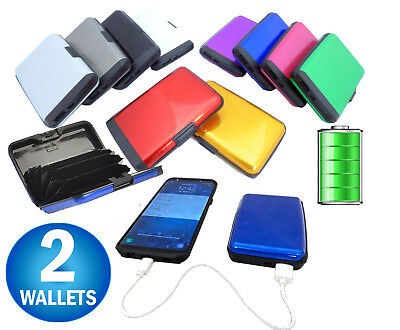 2 Aluminum RFID Blocking Power Bank Charging Phone Wallet  E Charge Metal Wallet