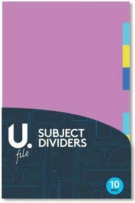 10 Part Subject Filing File Dividers A4 Multi Coloured Same Day Dispatch