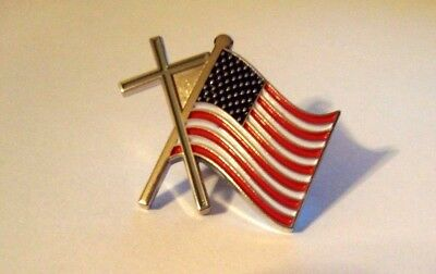 Cross and United States Flag Hat Pin