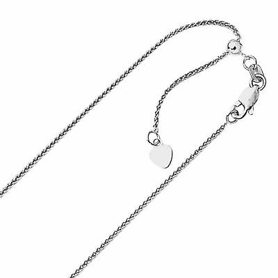 14k 1.00mm White Gold 22in Adjustable Quadra Wheat Necklace Chain