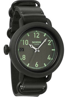 Nixon Men's A279-001-00 October Leather 48.5mm All Black Watch A279001