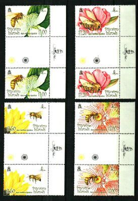 PITCAIRN ISLANDS 2008 FLOWERS & BEES GUTTER PAIRS MNH Sc#670-673