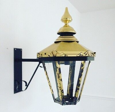 Enormous Early 20th Century Brass Wall Street Light With Bracket.