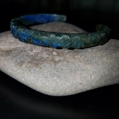 Rare Medieval Viking Era Dagaz Decorated Bronze Bracelet