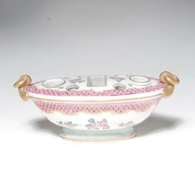 Vintage Hand Painted French Porcelain Inkwell In The Style Of Edme Samson