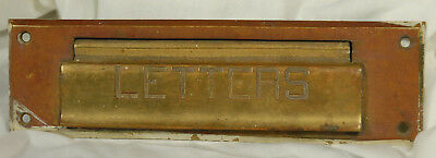 Antique Solid Brass Mail Slot Hinged Door Letters Beveled Edge