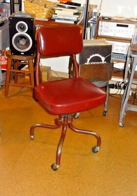 Vtg Fritz-Cross Industrial Metal Office Swivel Desk Chair Domore Steampunk