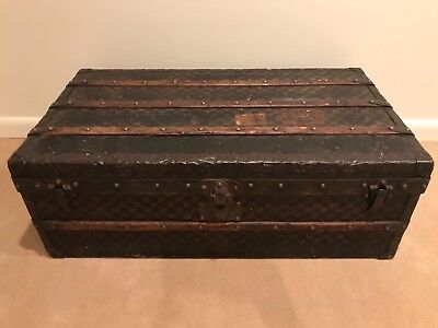Antique Louis Vuitton LV Steamer Travel Trunk with Checkered Pattern
