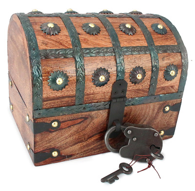 WellPackBox Wooden Pirate Treasure Chest Box With Antique Style Lock And Skeleto