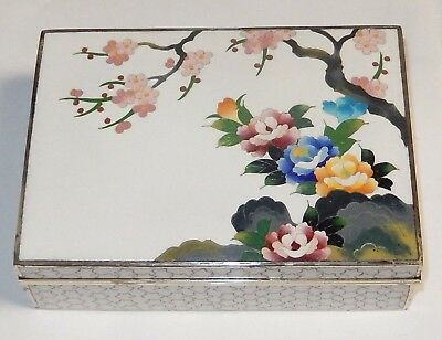 Large Inaba Floral Blossoms Cloisonne White Enamel Signed Old Box