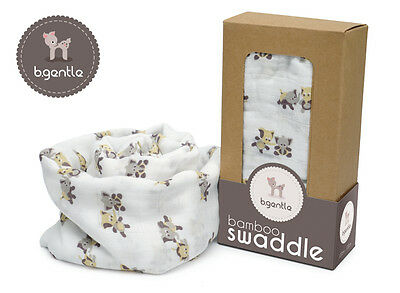 NEW B.Gentle 100% BAMBOO Baby Swaddle Wrap Elephant Parade 120x120cm