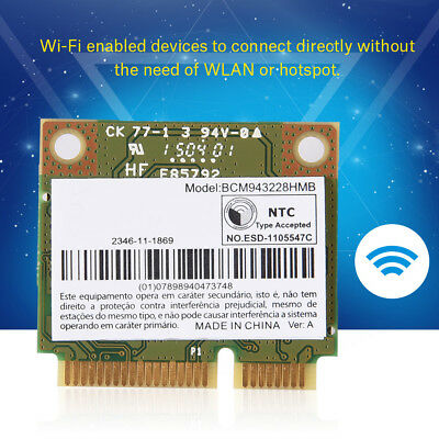 300M 2.4/5G Dual Band BCM943228HMB WiFi + Bluetooth 4.0 Mini PCI-E Wireless Card