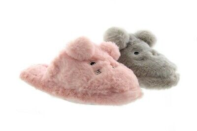Childs Girls Mule Slippers Zedzzz TRACI Textile Funny Bunny